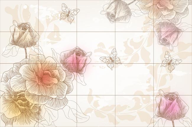 手绘花卉 花藤 玫瑰花 欧式壁画 无框画 皇室壁画 素雅壁画 浪漫 蝴蝶