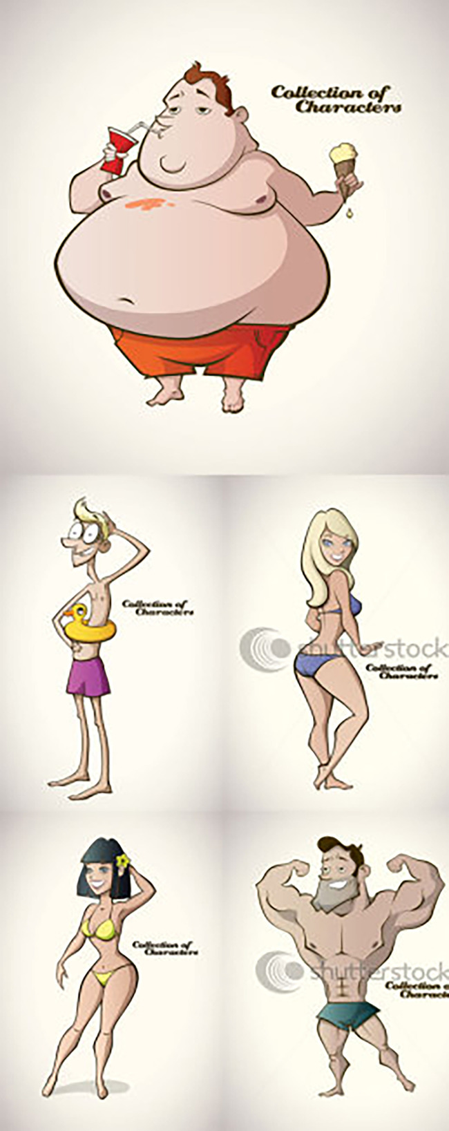 胖瘦运动卡通人物 胖子卡通人物图片