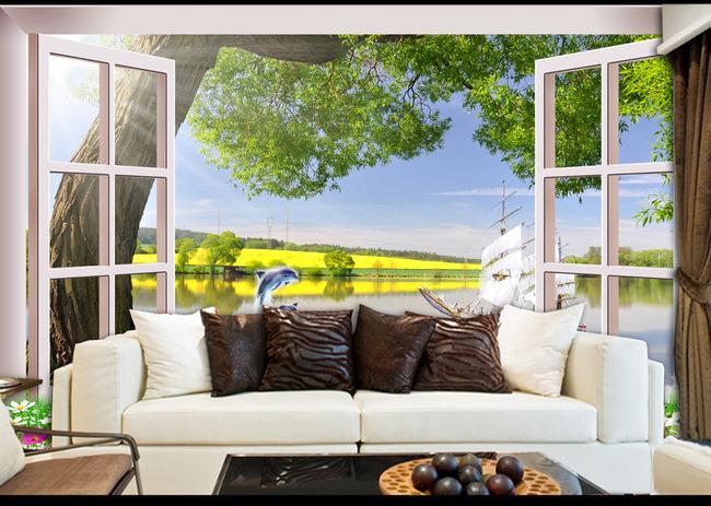 3d窗外风景唯美风景沙发背景墙壁画