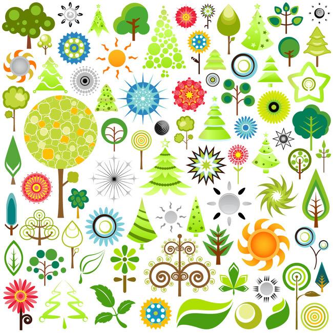 小树 星星 叶子 卡通背景 可爱卡通背景 花鸟 植物 手绘 儿童 花纹