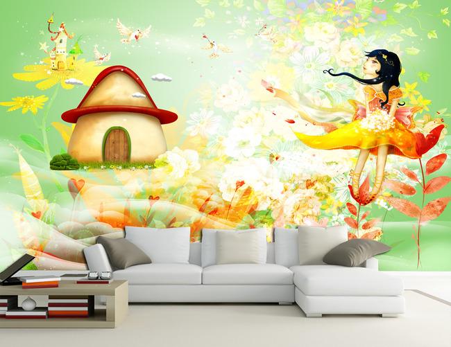卡通公主房小孩房床头背景墙壁画