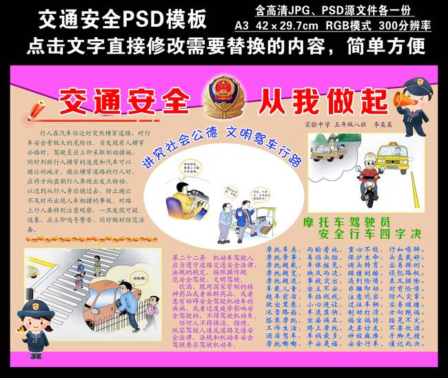 电子小报模板 psd学生手抄报 儿童喷绘写真海报设计 班级文化 手抄报