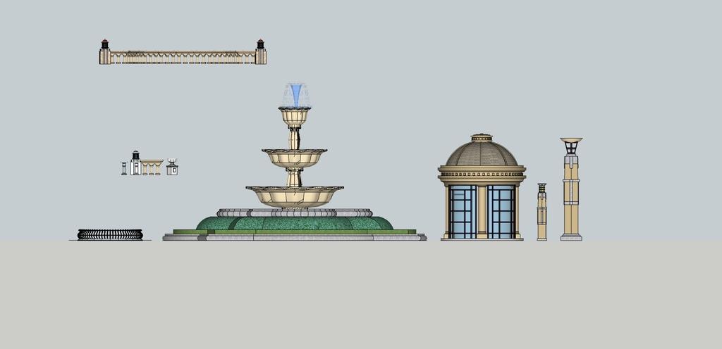 欧式水景喷泉su模型