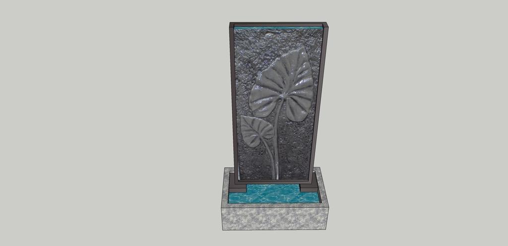 浮雕叶子水景su模型