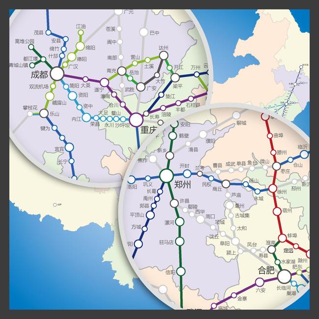 平面设计 地图 其他地图 > 中国高铁线路分布图(矢量图)  下一张&nbsp