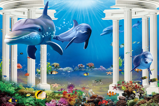 海底世界海豚3d立体罗马柱电视背景墙
