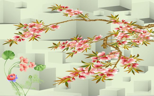 3d方块电视背景墙手绘桃花花卉
