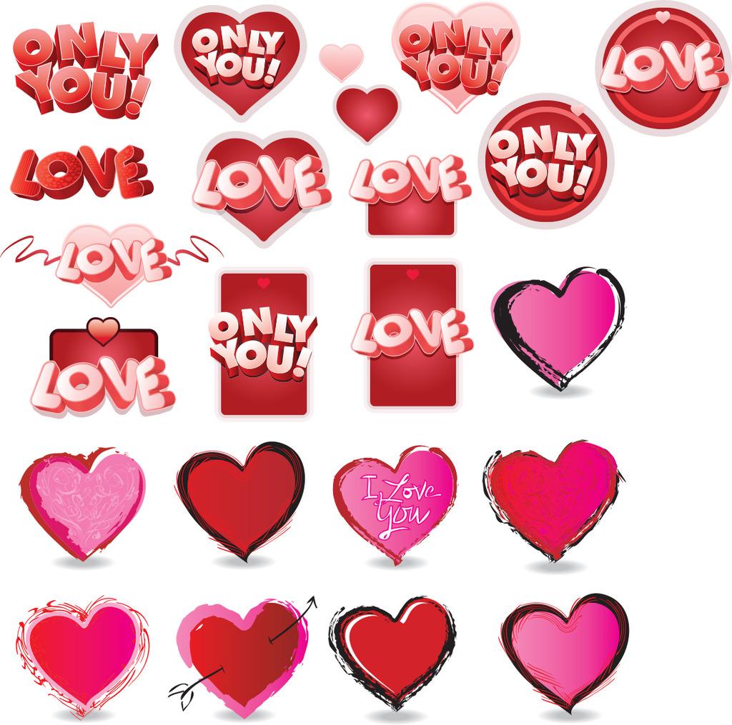 爱心图标 情人节涂鸦 手绘爱心