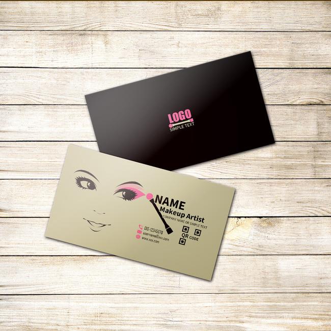 高档个性手绘彩妆化妆师美容师名片卡片