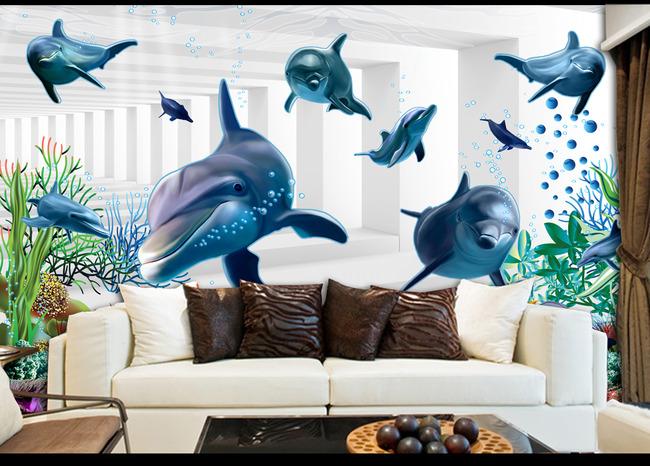 3d立体清新客厅电视背景墙壁纸壁画