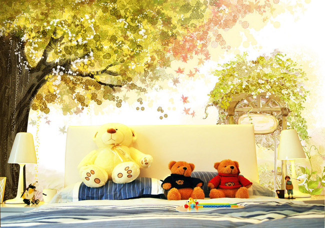 水彩手绘唯美树花藤儿童房背景墙图片