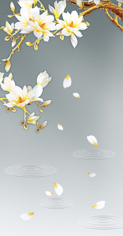 高清手绘玉兰花灰色底水纹圆圈水纹