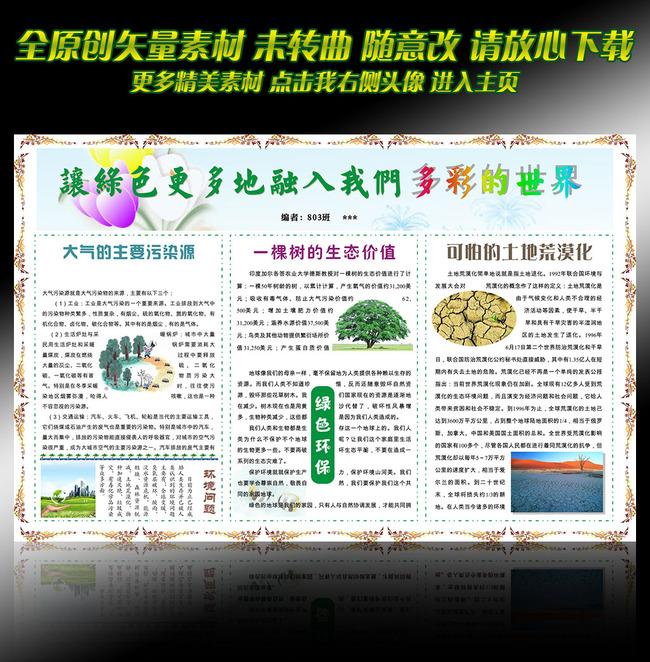word模板环保绿色小报图片