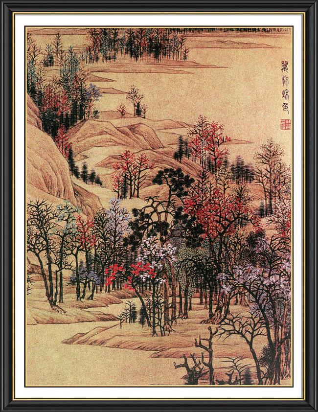 中国风山水风景玄关画屏风画框裱画