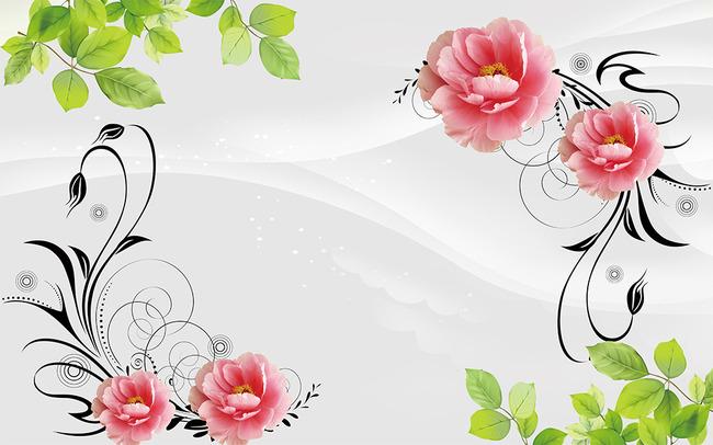 玫瑰花牡丹花桃花手绘印花广告