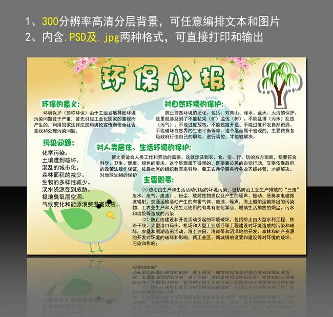 环保电子小报模板