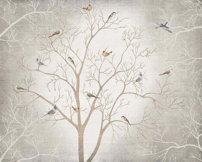 欧式怀旧抽象树枝花鸟电视背景墙