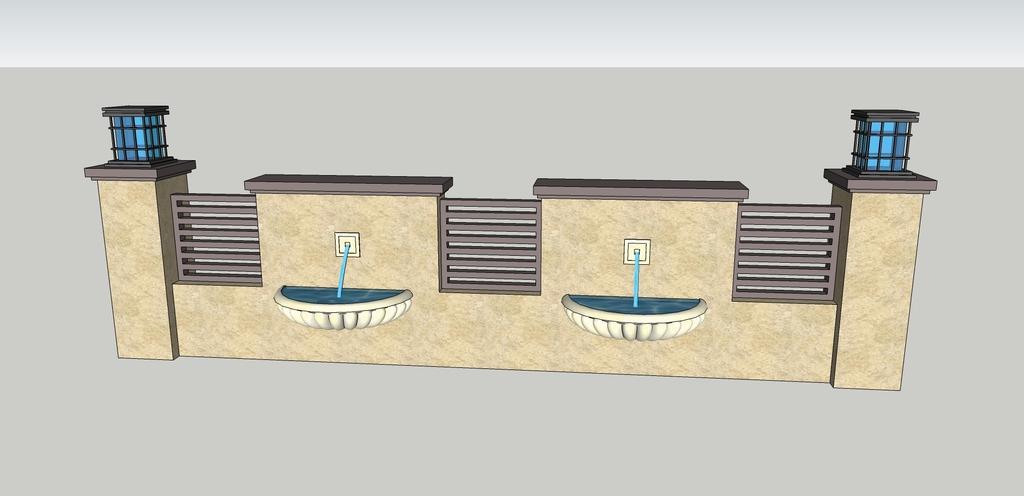 欧式带喷水景墙su模型