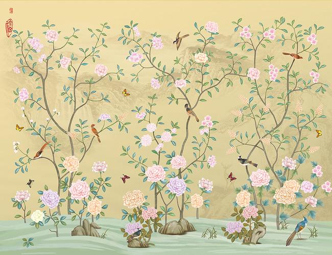花鸟图手绘花鸟鸟语花香手绘壁画图片