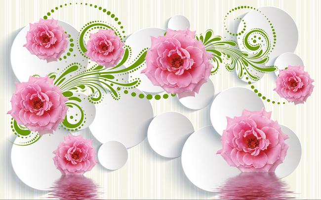 3d玫瑰花藤飞舞电视墙