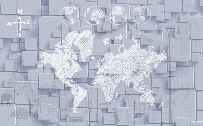 3d立体素描世界地图电视背景墙