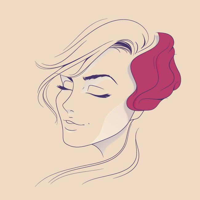 (aicdr)手绘人物插画图片下载女人图形几何圆形形状