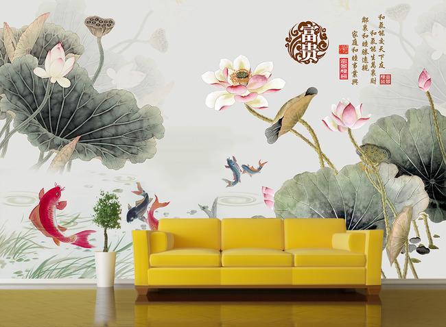 中式壁画荷花荷叶电视背景墙