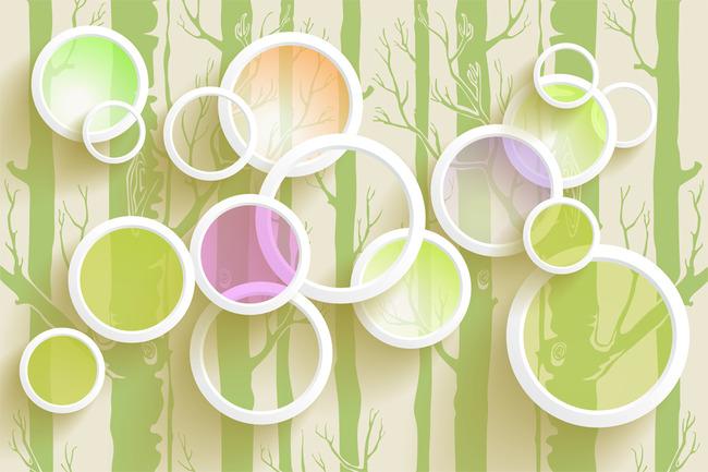 3D圆圈彩色 抽象树干 高清图片下载 图片编号1