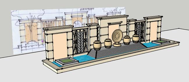 欧式创意景墙su模型模板下载(图片编号:13552706)