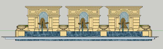 欧式喷泉时尚景墙su模型