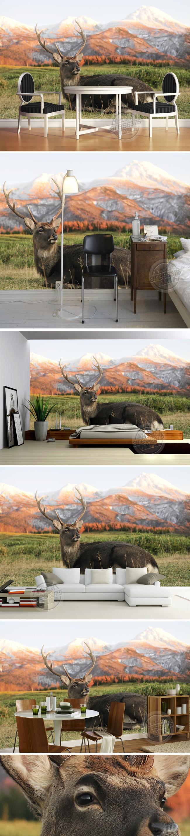 现代复古怀旧格调森林鹿壁画电视背景墙