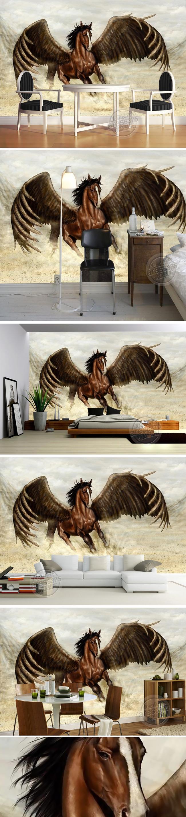 手绘油画飞马独角兽壁画电视背景墙