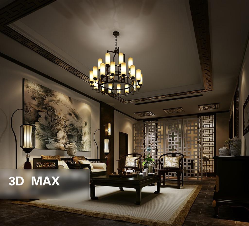 3d模型 室内设计3d模型 家装模型 > 3d中式客厅  下一张&gt图片