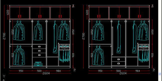 衣柜内部结构图cad