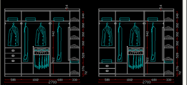 cad衣柜内部结构