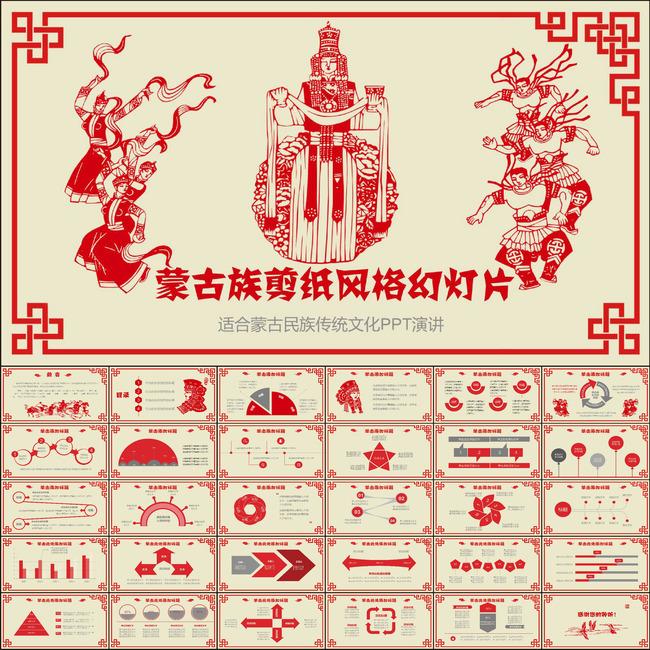 蒙古族剪纸风格民族风ppt动态模板图片
