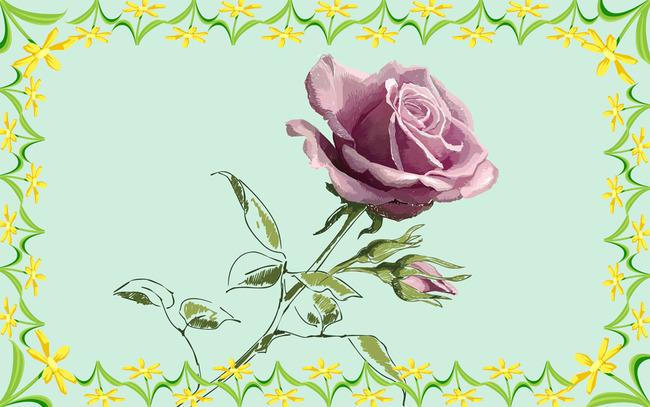 清新菊花手绘玫瑰花设计背景图
