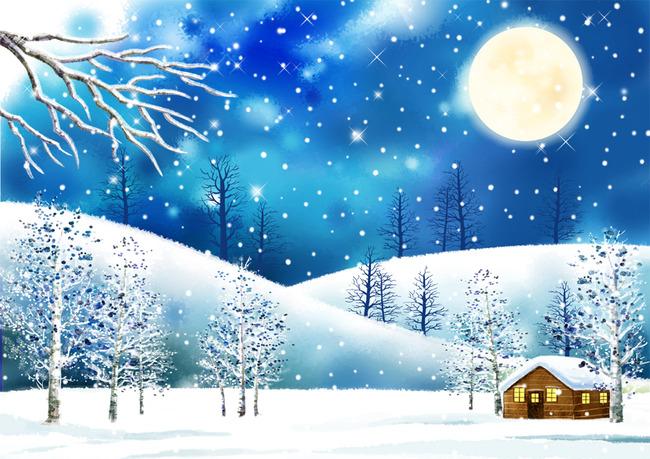 唯美卡通雪景装饰画电视背景墙