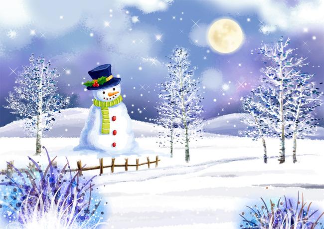 唯美卡通雪景电视背景墙