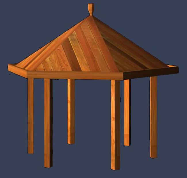 圆顶木质亭子设计模型