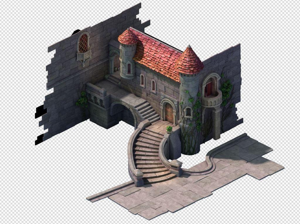 q版三维可爱卡通场景欧式建筑城堡房子