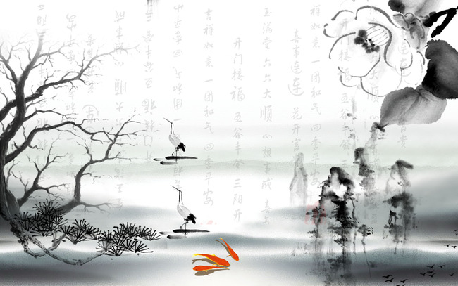 壁纸 墙画      电视墙 水墨 淡雅 时尚 客厅背景墙 墨迹 中国风 古典
