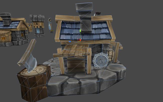 q版卡通兽人小建筑模型图片