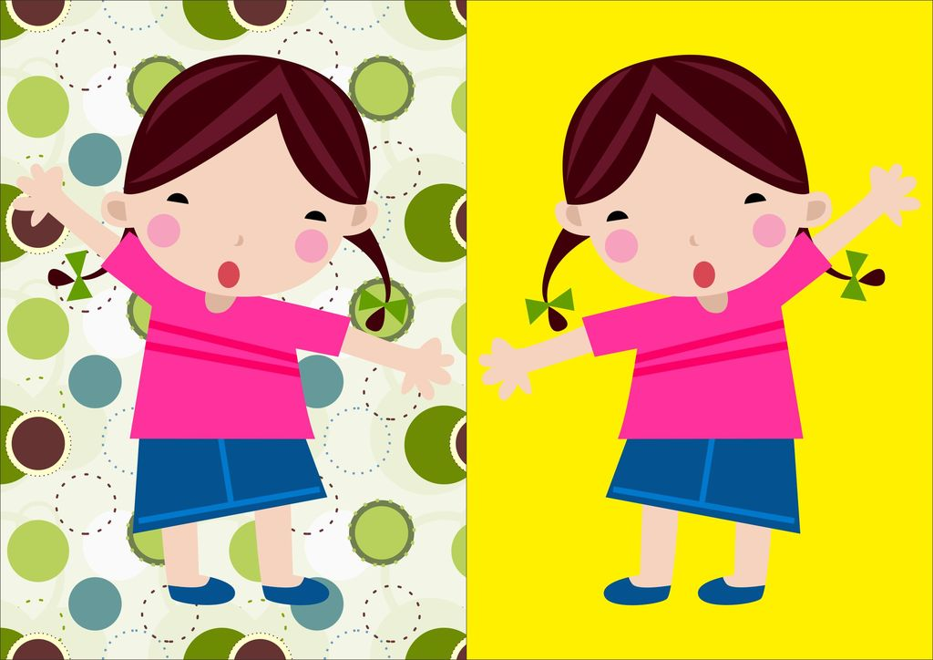 卡通儿童爱笑女孩矢量图图片下载卡通儿童 爱动 女孩矢量图学校 插图