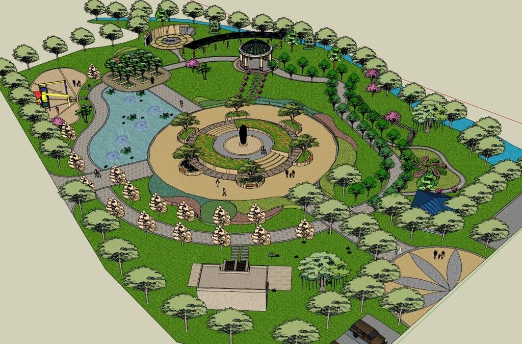 绿地草地公园广场su模型