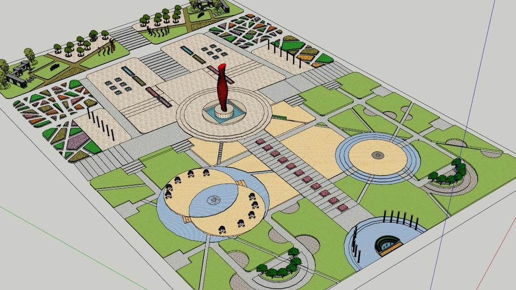 长方形公园广场su模型