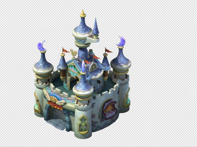 q版三维可爱卡通场景迪士尼城堡房屋建筑