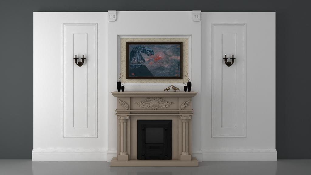 背景墙3d模型下载 室内设计客厅背景墙壁炉欧式背景