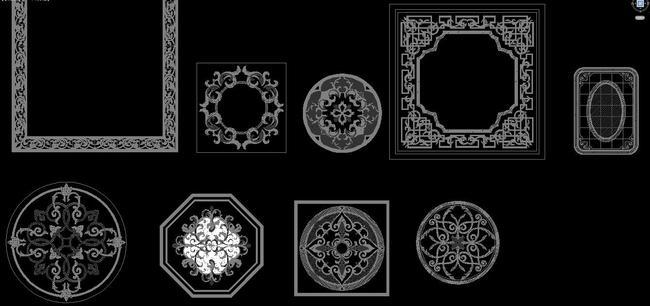 中式地面拼花cad图集水刀拼花雕刻花纹图片
