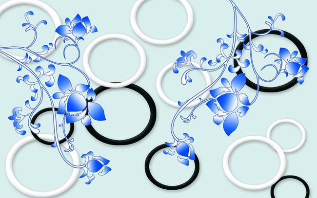 3d黑白圈圈手绘花卉背景墙图片下载 3d黑白色圈圈背景图 手绘花卉无框